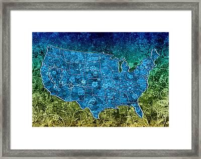United States Floral Map 3 Framed Print