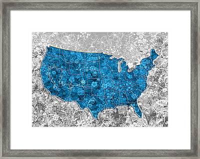 United States Floral Map  Framed Print