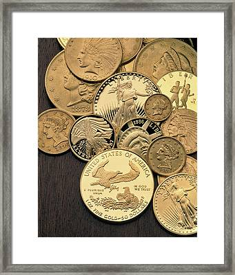 United States Gold Coins From Different Framed Print