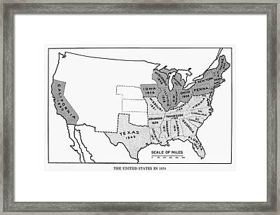 United States Map, 1854 Framed Print