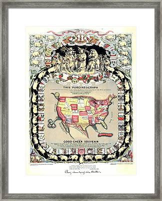United States Map 1876 Framed Print by Padre Art