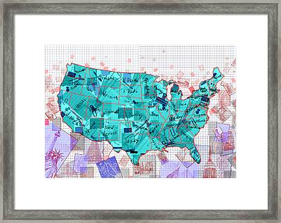 United States Map Collage 2 Framed Print