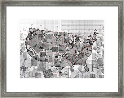 United States Map Collage 3 Framed Print