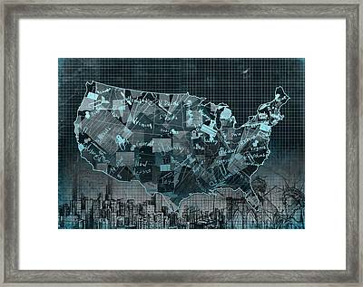 United States Map Collage 5 Framed Print