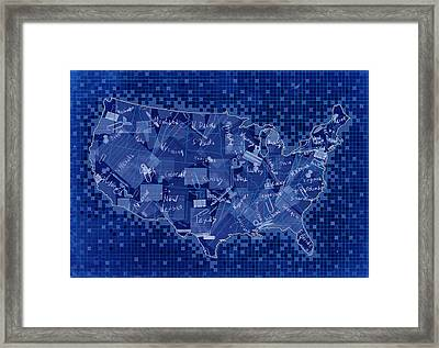 United States Map Collage 7 Framed Print