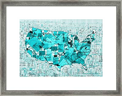 United States Map Collage 8 Framed Print