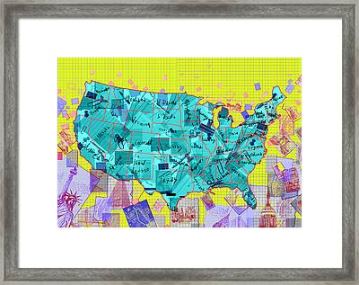 United States Map Collage Framed Print