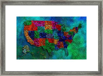 United States Map Framed Print by Jack Zulli