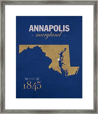 United States Naval Academy Navy Midshipmen Annapolis College Town State Map Poster Series No 070 Framed Print by Design Turnpike