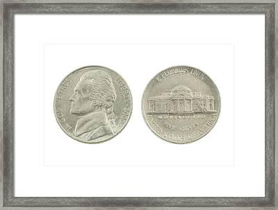 United States Nickel On White Background Framed Print