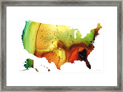 United States Of America Map 5 - Colorful Usa Framed Print by Sharon Cummings