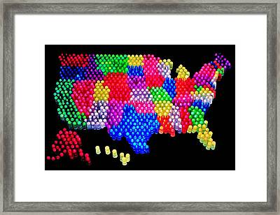 United States Of Lite Brite Framed Print by Benjamin Yeager