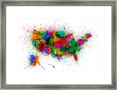 United States Paint Splashes Map Framed Print by Michael Tompsett