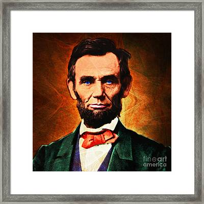 United States President Abraham Lincoln 20140914 Square Framed Print by Wingsdomain Art and Photography