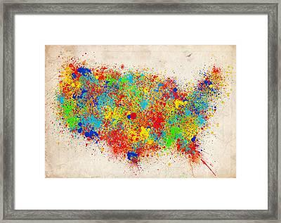 United States Splat Color Map  Framed Print by Bekim Art