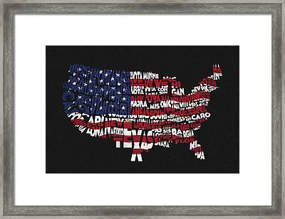 United States Typographic Map Flag - Black Background Framed Print by Ayse Deniz