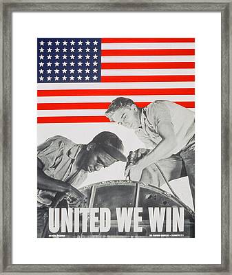 United We Win Us 2nd World War Manpower Commission Poster Framed Print by Anonymous