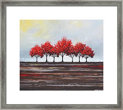 Unity - Red Trees Framed Print by Christine Krainock