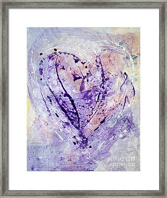 Universal Heart Pastel Purple Lilac Abstract By Chakramoon Framed Print by Belinda Capol