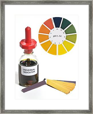 Universal Indicator Solution And Paper Framed Print by Martyn F. Chillmaid