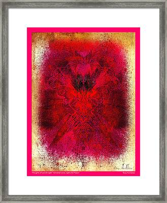 Universal Love Light Peace Pink Border Framed Print by Roxy Hurtubise