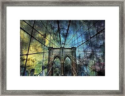 Universe And The Brooklyn Bridge Framed Print