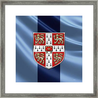 University Of Cambridge Seal - Coat Of Arms Over Colours Framed Print by Serge Averbukh