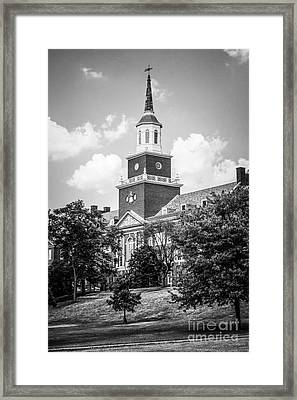 University Of Cincinnati Black And White Picture Framed Print by Paul Velgos