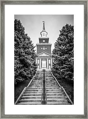 University Of Cincinnati Mcmicken Hall Black And White Picture Framed Print