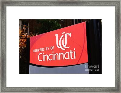 University Of Cincinnati Sign Framed Print