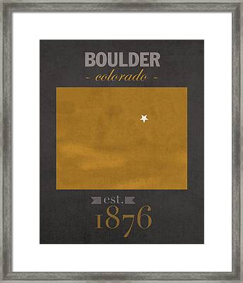 University Of Colorado Boulder Buffalos College Town State Map Poster Series No 031 Framed Print by Design Turnpike