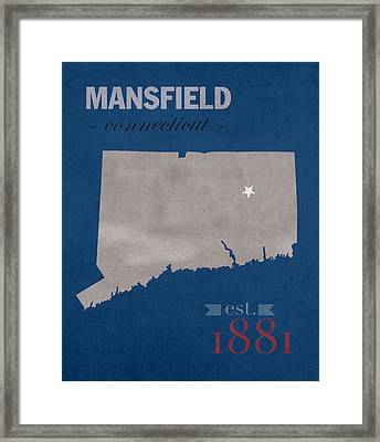 University Of Connecticut Huskies Mansfield College Town State Map Poster Series No 033 Framed Print by Design Turnpike