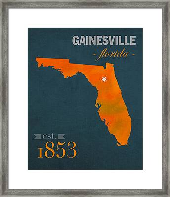 University Of Florida Gators Gainesville College Town Florida State Map Poster Series No 003 Framed Print by Design Turnpike