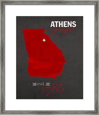 University Of Georgia Bulldogs Athens College Town State Map Poster Series No 040 Framed Print