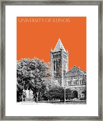 University Of Illinois 2 - Altgeld Hall - Coral Framed Print by DB Artist