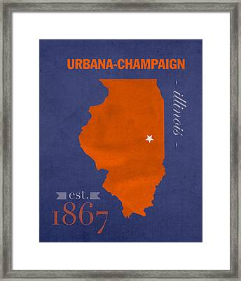 University Of Illinois Fighting Illini Urbana Champaign College Town State Map Poster Series No 047 Framed Print
