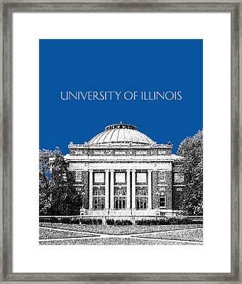 University Of Illinois Foellinger Auditorium - Royal Blue Framed Print