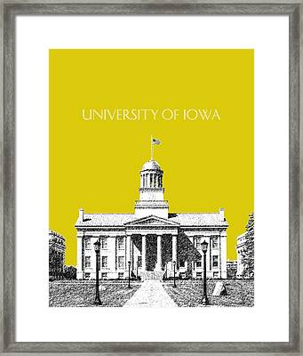 University Of Iowa - Mustard Yellow Framed Print by DB Artist