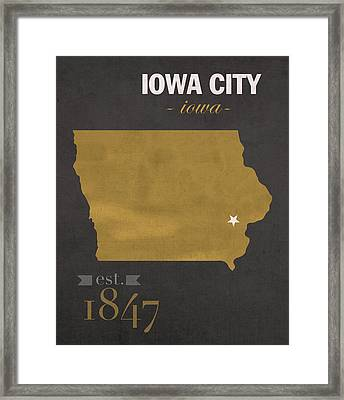 University Of Iowa Hawkeyes Iowa City College Town State Map Poster Series No 049 Framed Print by Design Turnpike