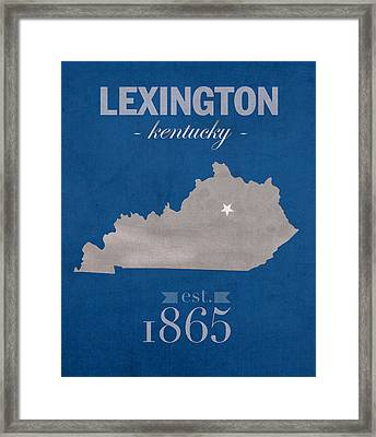 University Of Kentucky Wildcats Lexington Kentucky College Town State Map Poster Series No 054 Framed Print