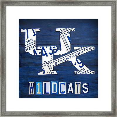 University Of Kentucky Wildcats Sports Team Retro Logo Recycled Vintage Bluegrass State License Plate Art Framed Print by Design Turnpike