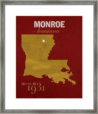 University Of Louisiana Monroe Warhawks College Town State Map Poster Series No 058 Framed Print