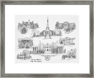 University Of Maryland Framed Print by Liz  Bryant