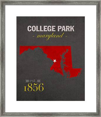 University Of Maryland Terrapins College Park College Town State Map Poster Series No 061 Framed Print