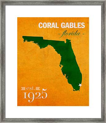 University Of Miami Hurricanes Coral Gables College Town Florida State Map Poster Series No 002 Framed Print by Design Turnpike