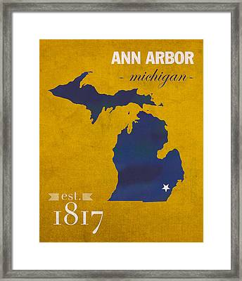University Of Michigan Wolverines Ann Arbor College Town State Map Poster Series No 001 Framed Print