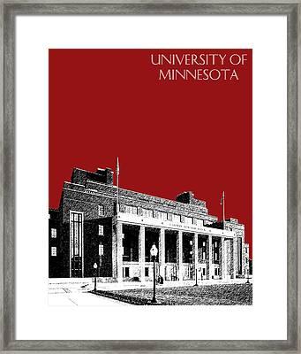 University Of Minnesota - Coffman Union - Dark Red Framed Print