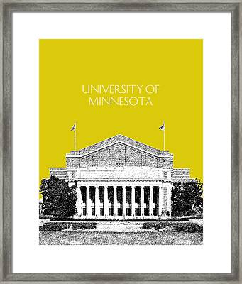 University Of Minnesota 2 - Northrop Auditorium - Mustard Yellow Framed Print by DB Artist