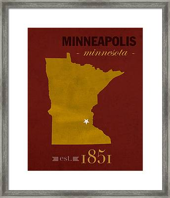 University Of Minnesota Golden Gophers Minneapolis College Town State Map Poster Series No 066 Framed Print by Design Turnpike