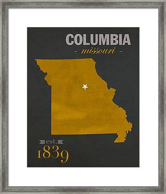 University Of Missouri Tigers Columbia Mizzou College Town State Map Poster Series No 069 Framed Print